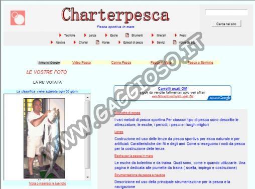 Charter di pesca in mare